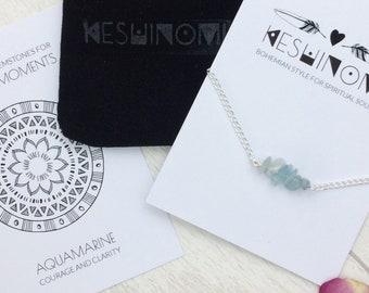 Aquamarine bracelet, Gift for yogi, Silver stacking bracelets, healing crystals, yoga lovers, Ibiza style, boho bracelet, march birthstone