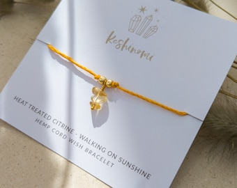 Citrine crystal charm and yellow hemp string wish bracelet, gift idea for best friend, sister, or co-worker
