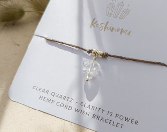 Clear quartz crystal charm and grey hemp string wish bracelet, gift idea for best friend, sister, or co-worker