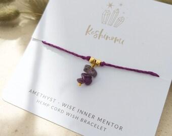 Amethyst crystal charm and purple hemp string wish bracelet, gift idea for best friend, sister, or co-worker