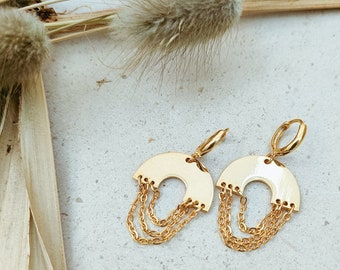 Rainbow style gold huggie earrings with lever backs, dangly hoop earrings with gold chains and arch