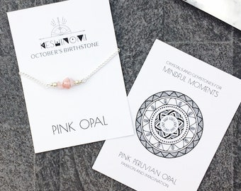 October birthstone, pink opal bracelet, boho bracelet, meaningful jewelry, healing crystals beaded bracelet, bohemian gift for yoga lover