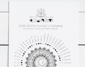 UK GMT moon calendar 2018 printable, moon phases, wall art, instant download, moon art, gift for her, yoga, boho art, crystal healing