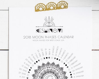 USA PST 2018 moon calendar printable, moon phases, instant download moon wall art, gift for yoga lover, boho art, crystal healing, time zone