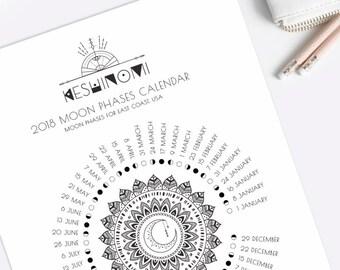 USA EST moon calendar 2018 printable, moon phases wall art, instant download, moon art, gift for yoga lover, boho art, healing crystals