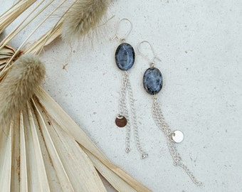 Oval larvikite silver dangle earrings / Long chain tassel drop earrings, with silver sequins and hook style ear wires