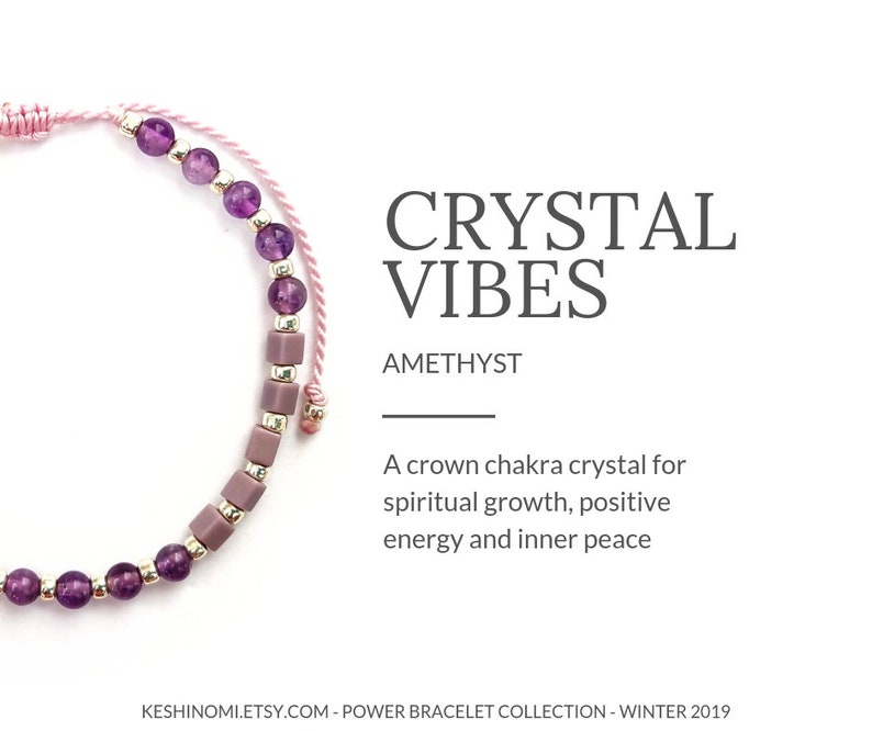 6937f1416e Amethyst bracelet healing crystals yoga bracelet crown