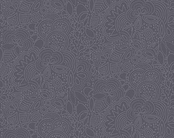 Yardage, Half Yard, Alison Glass Remix, Stitched in Charcoal, Andover Fabrics, Modern Fabric, Modern Quilt, Floral Fabric