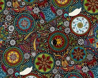 Yardage, In the Beginning Fabrics, Large Collage in Black, Woodland Animals, A Celestial Winter, Jason Yenter