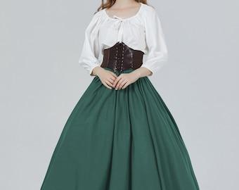 Victorian Skirt Renaissance Skirt 100% Cotton Long A-Line Skirt Medieval Skirt Civil War Skirt Cosplay Full Length