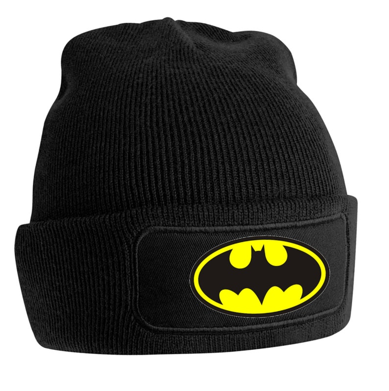 Batman Wooly printer beanie hat Superman Personalised