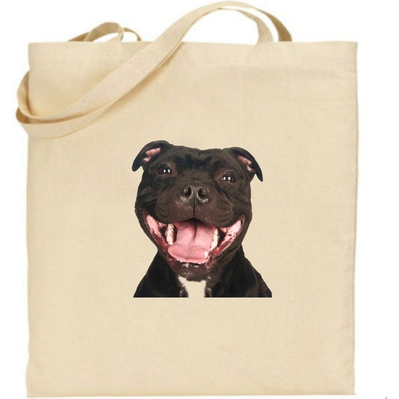 Tote bag with a Staffordshire Bull Terrier Printed Cotton Shopping Bag For Life