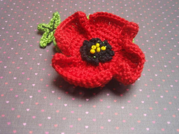 Crochet Pattern Crochet Poppy Flower Brooch Diy Instand Etsy