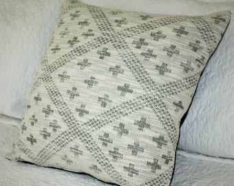 Black Geometric Print on Off White Flecked Knit - 45 x 45cm - Cushion Cover Geometric