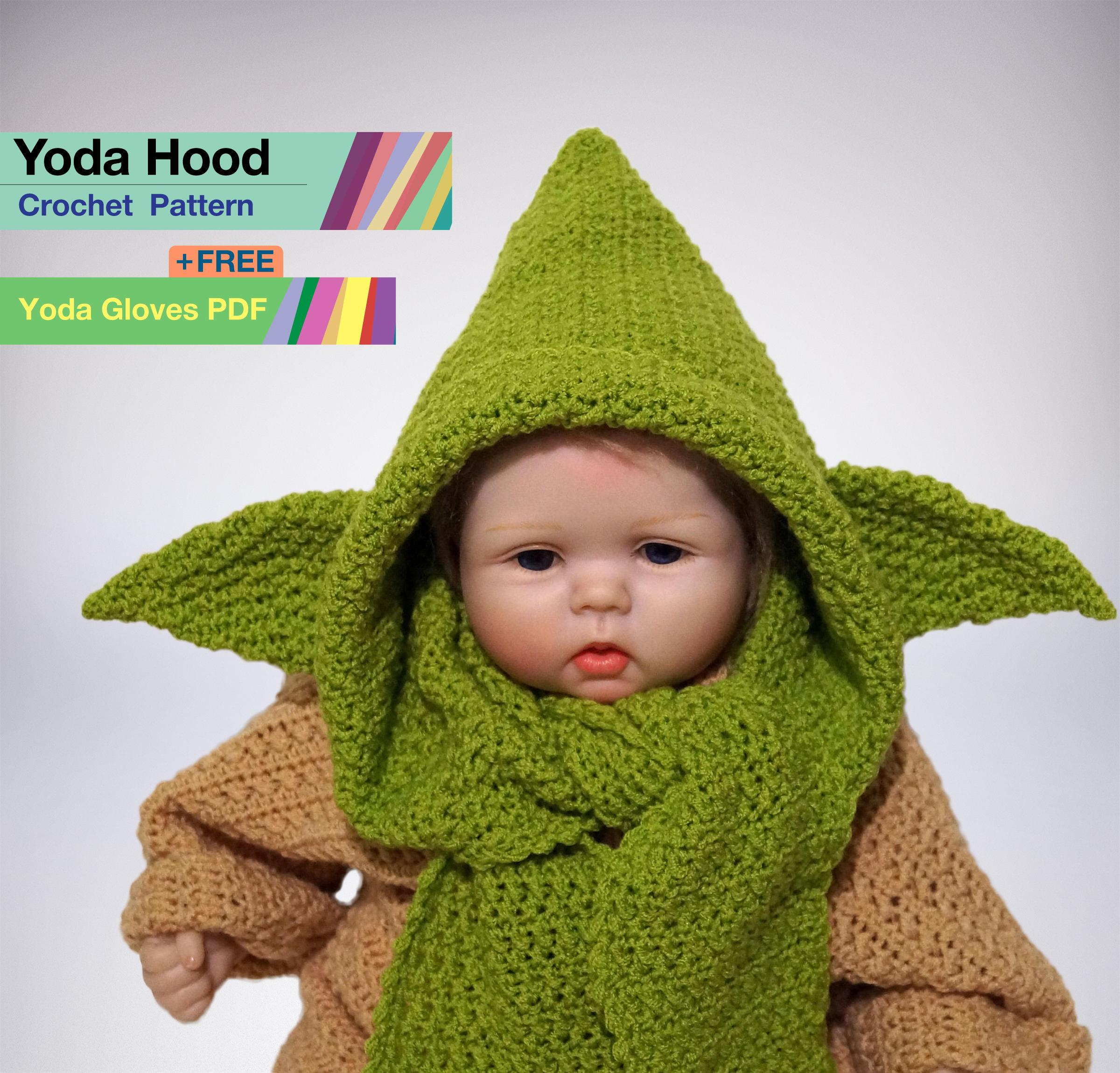 Yoda Hood Crochet PDF Pattern, Yoda Costume, Baby Star Wars, Yoda ...