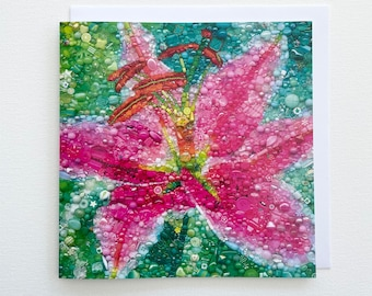 Lily Card - Embroidery Art print
