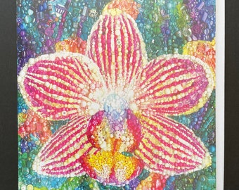 Orchid Embroidery Art Card