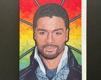 Regé-Jean Page Bridgerton Embroidery Art Card