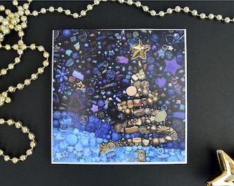 Winter Wonderland Pack of 6 Christmas Tree cards / Contemporary Bead Embroidery