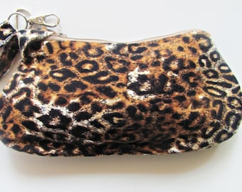 Pleated Animal Print Zippered Pouch.  Wristlet Purse.Clutch.Zipper Pouch.Wristlet Purse.Handbag-Black and Brown  Animal Print Bag