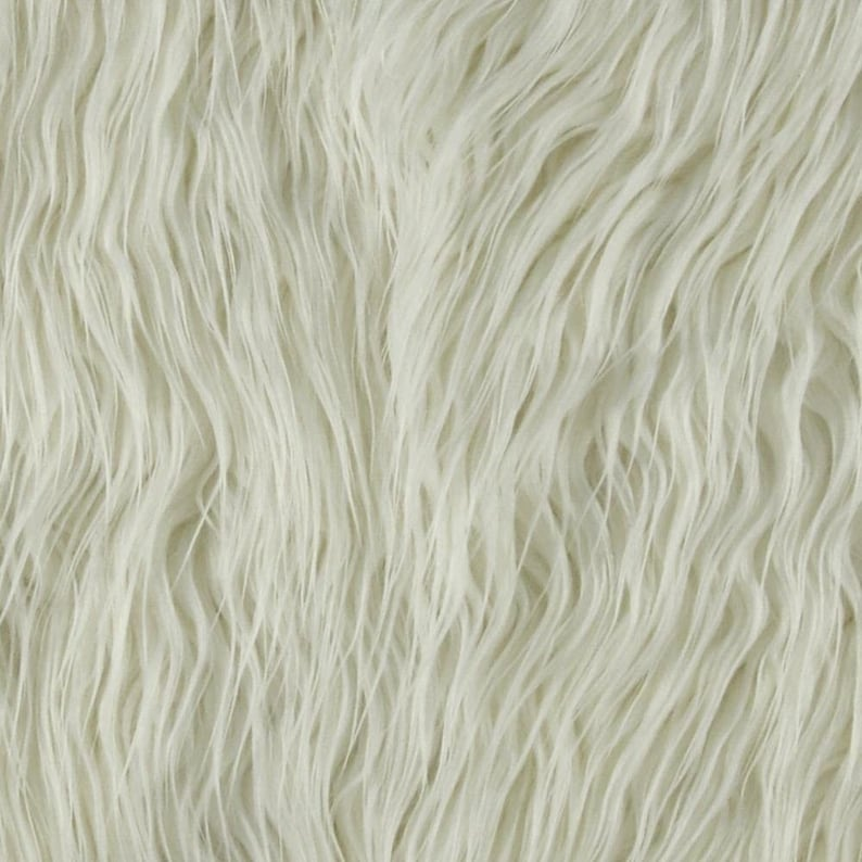 5,6 8 or 10 Squares White  Faux Fur Mongolian Fabric Remnant Shannon Lux Fur Mongolian White .Choose from 4