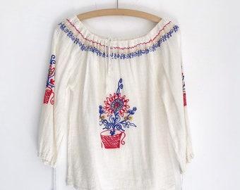029457ae vintage embroidery hippie boho cotton folklore peasant blouse top S