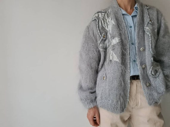 Vintage mohair fluffy lined cardigan jacket m - image 4