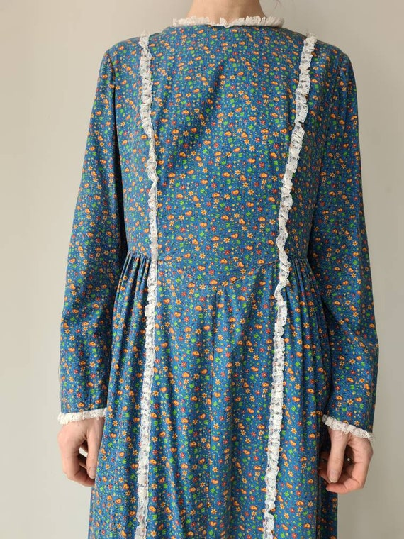 Vintage handmade prairie cotton dress M/L - image 2