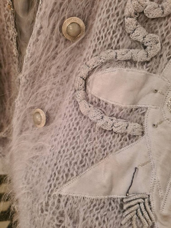 Vintage mohair fluffy lined cardigan jacket m - image 10