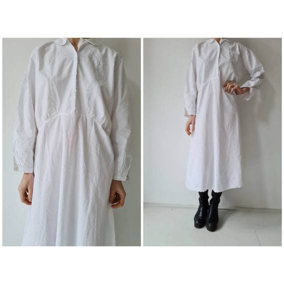 Vintage cotton antique nightgown broderie shirt dr
