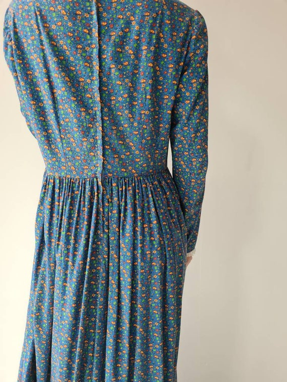Vintage handmade prairie cotton dress M/L - image 3