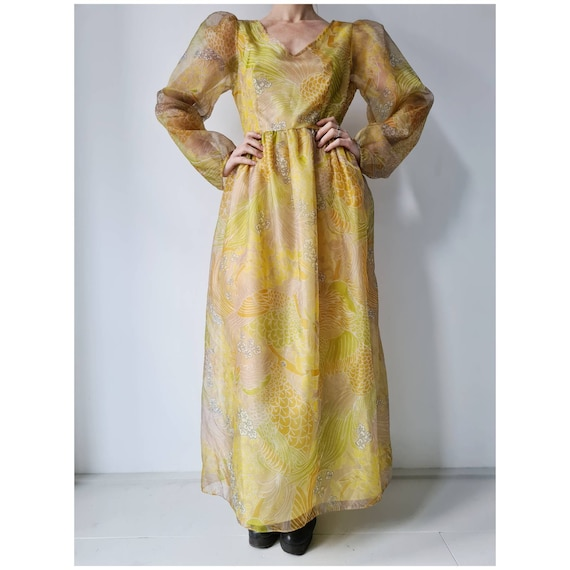 Yellow floral vintage puff sleeve maxi dress