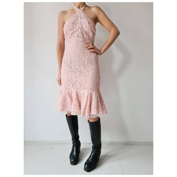 Vintage miami pink pastel cocktail dress xs