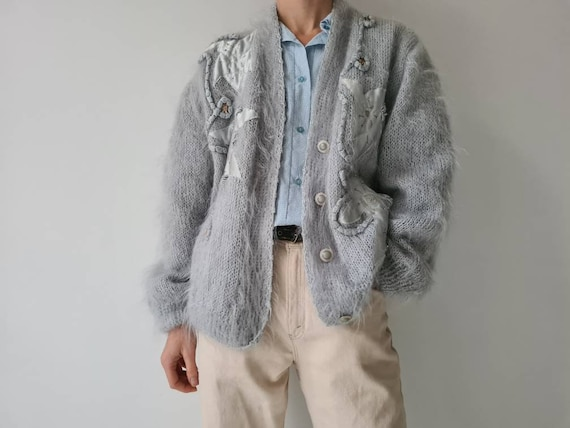 Vintage mohair fluffy lined cardigan jacket m - image 8