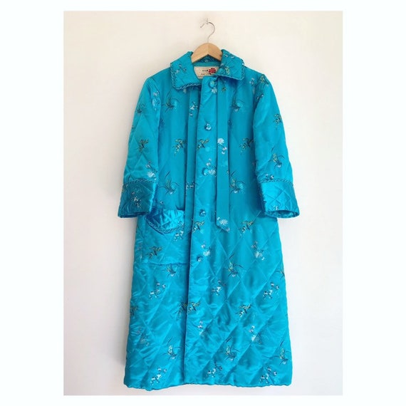 Vintage floral oriental quilted house robe coat S