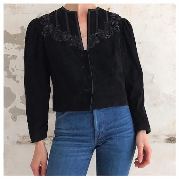 Vintage suede puffed sleeves sequin beaded jacket