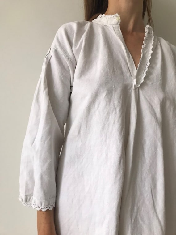 Vintage antique french cotton woven night gown sl… - image 2