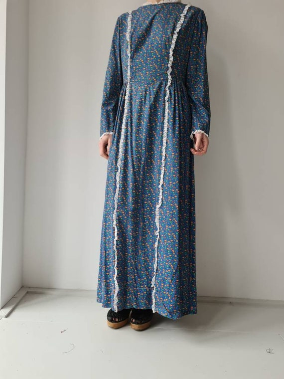 Vintage handmade prairie cotton dress M/L - image 4