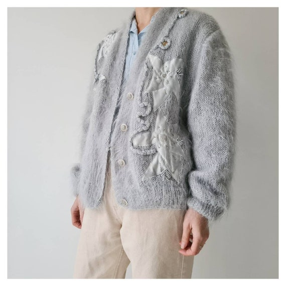 Vintage mohair fluffy lined cardigan jacket m - image 3