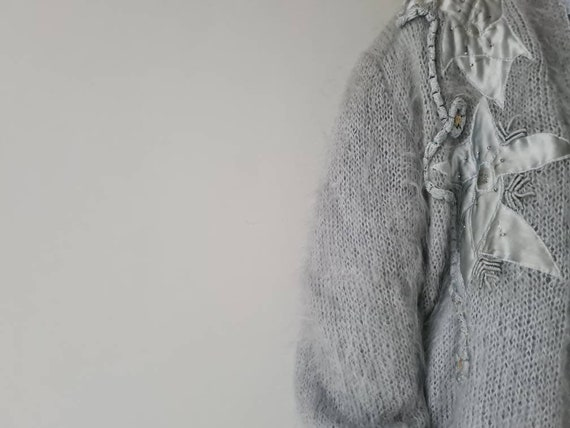 Vintage mohair fluffy lined cardigan jacket m - image 6