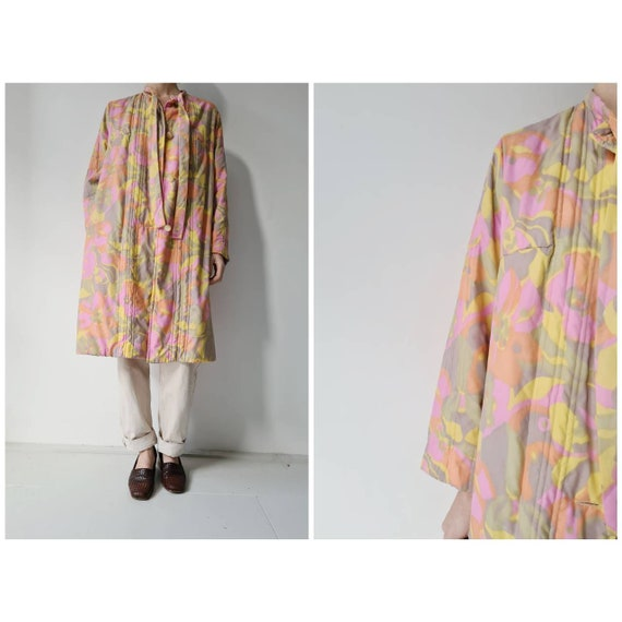 Vintage 60ies quilted retro robe housecoat S/M