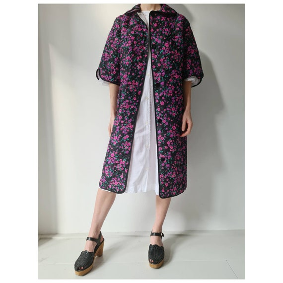 vintage 60-ies quilted floral housecoat duster rob