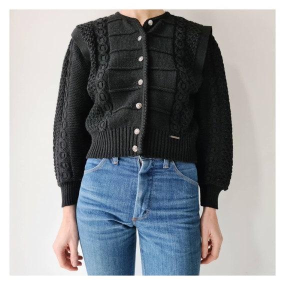 Vintage black wool tiroler trachten cardigan puff