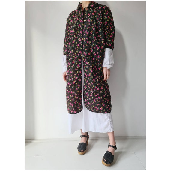 Vintage 60-ies duster floral quilted housecoat ove