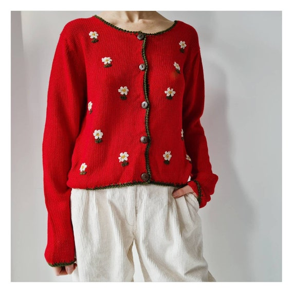 Cute floral embroidery cotton mix knitted cardigan