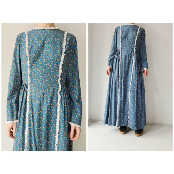 Vintage handmade prairie cotton dress M/L - image 1