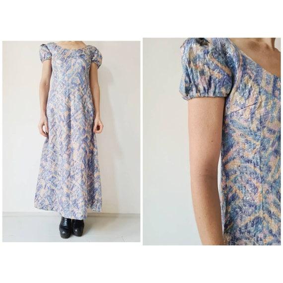 Lurex party maxi pastel dress