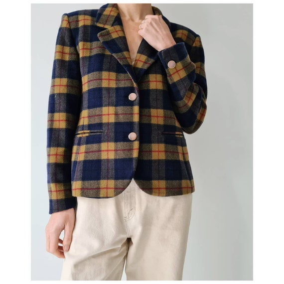 Vintage cashmere blend blazer tartan blocked s