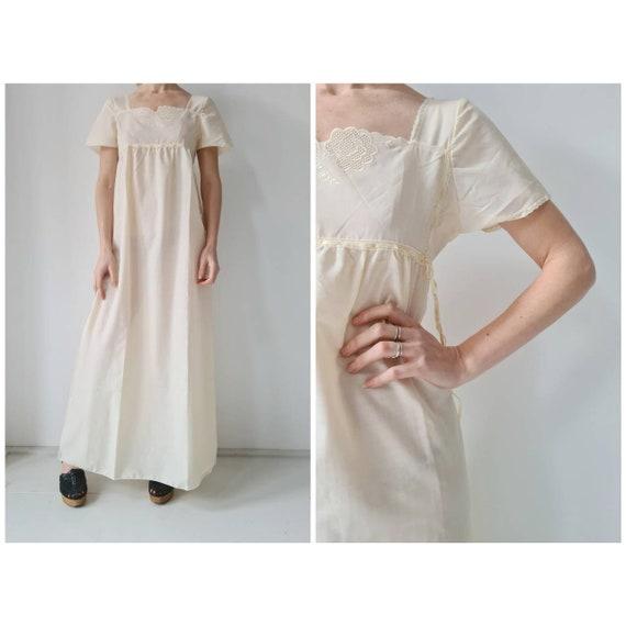 Vintage cotton blend maxi dress Nightgown S/M