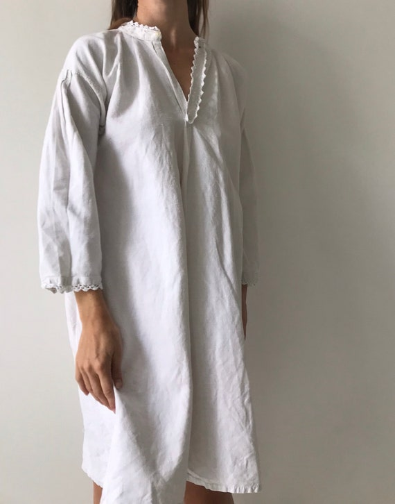 Vintage antique french cotton woven night gown sl… - image 7